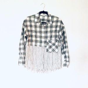 Entro• Grey Fringed Button Down Shirt